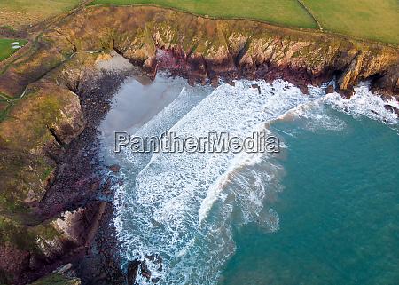 aerial view of caerfai bay near
