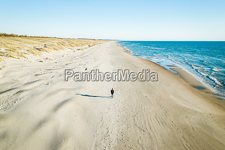 aerial view of traveler walking on