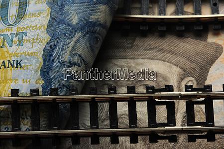 rail closeup on hungarian banknotes