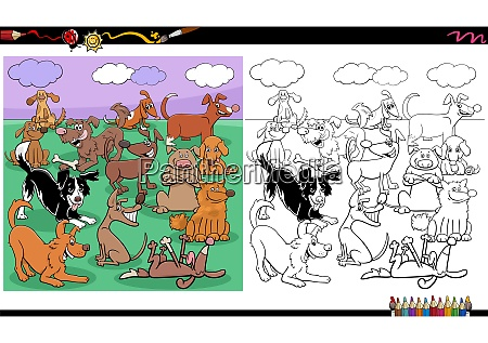 dogs characters large group coloring book