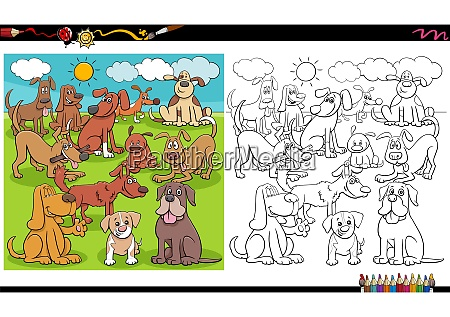 playful dogs characters group coloring book