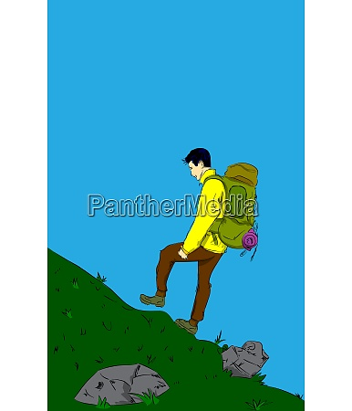 man going up on a hill