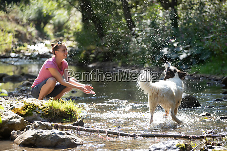woman and her dog in the