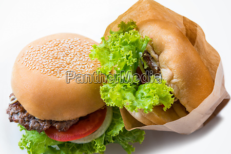 top view two hamburger on a