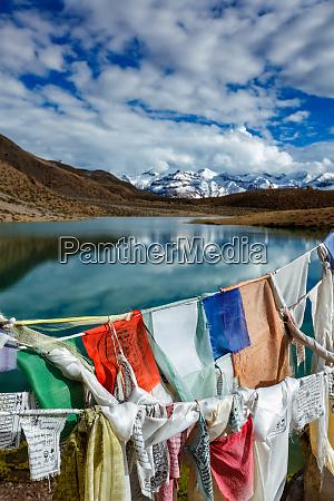 prayer flags and dhankar lake spiti