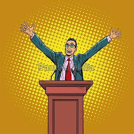 happy politician man on the podium