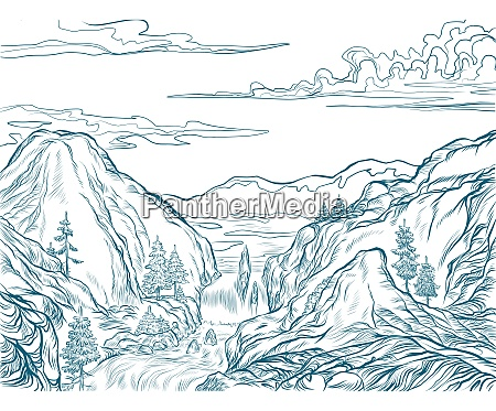 mountains contour silhouette