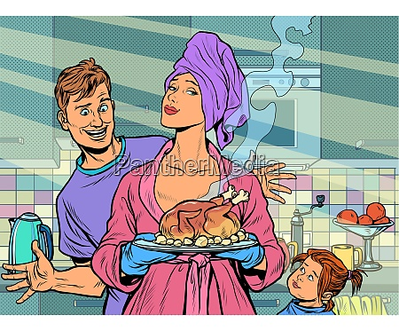 woman with ready fried poultry chicken