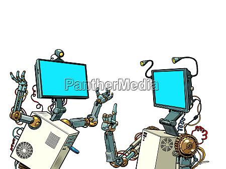 two robots communicate