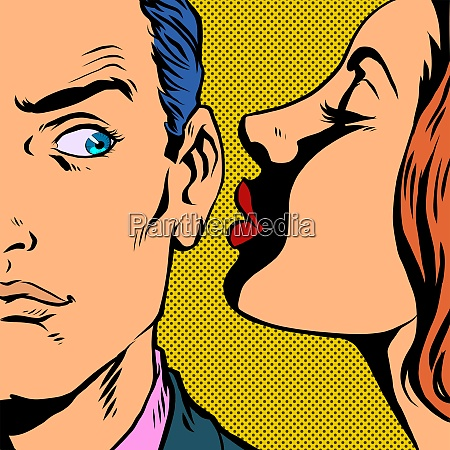 man and woman whispering a secret