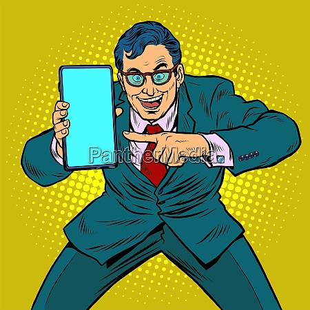 businessman shows on smartphone mobile technologies