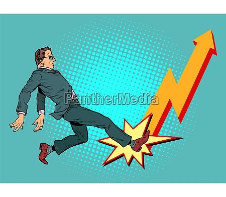 businessman chart up success economic growth