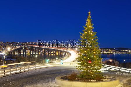 christmas tree near bridge of tromso
