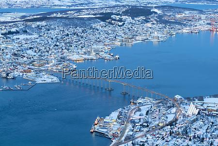 aerial view on tromso norway tromso