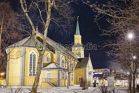 tromso cathedral at starry night winter
