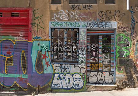 colored graffiti street art on the