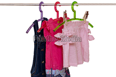 girls clothes on rack close up