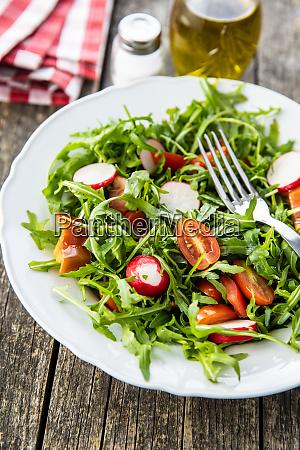fresh arugula salad with radishes tomatoes