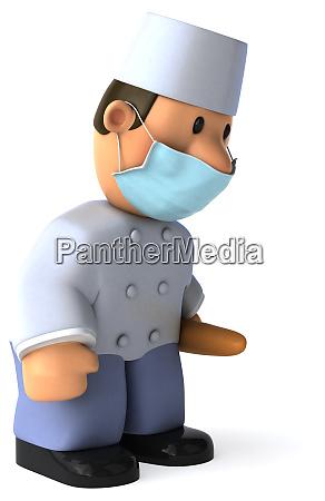 3d illustration of a cartoon baker