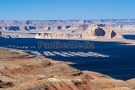 lake powell in desert landscape and
