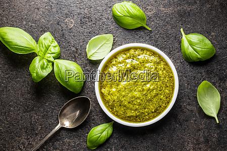 green basil pesto dip sauce and