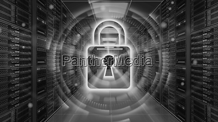 digital security hologram with padlock on