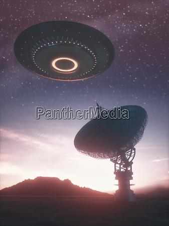 giant satellite dishe signal and ufo
