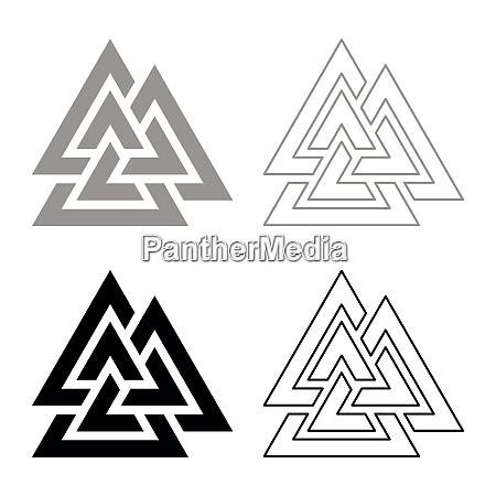valknut symbol icon set black grey