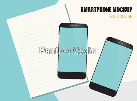 digital device mockup smartphone with note