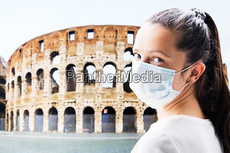 tourist woman in face mask at