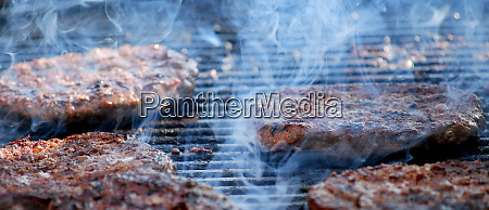 hamburgers grilling