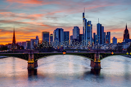 colorful sunset over downtown frankfurt and
