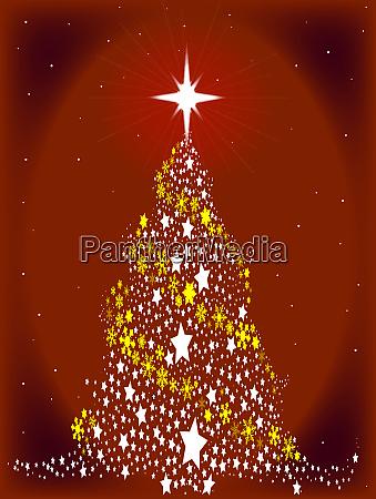 red star spangled christmas tree