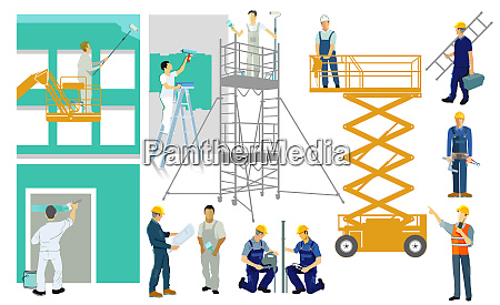 painters and artisans on construction site