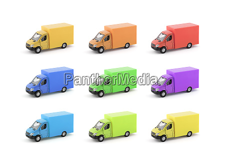 group of colorful cargo delivery trucks