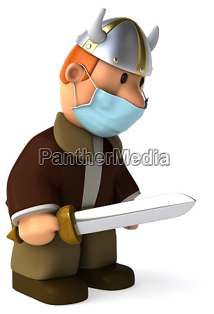3d illustration of a viking with