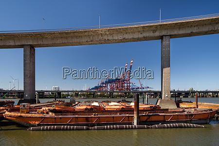 barges and lighter ships harbor hamburg