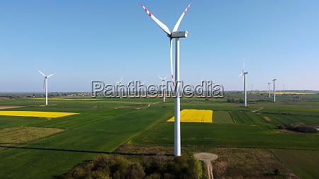 windmils on th field wind turbines
