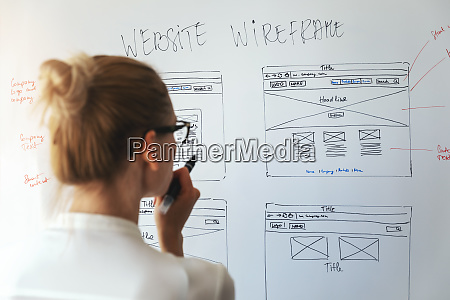 woman designer working on new website