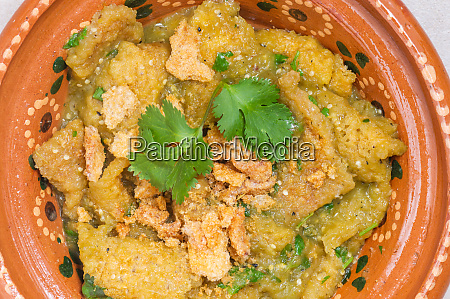 chicharron in green salsa mexican breakfast