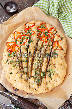homemade focaccia with bell pepper