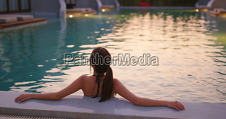 woman enjoy in the swimming pool