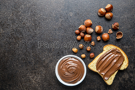 toast bread with hazelnut spread sweet