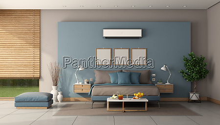 modern master bedroom with minmalist double