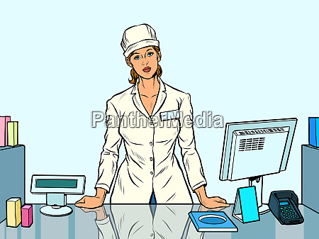 the woman pharmacist working in a