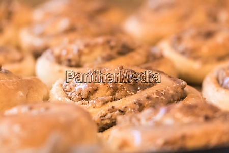 tasty cinnamon rolls pastry with sugar