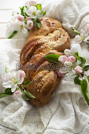 fresh baked sweet braided yeast bun