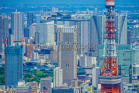 tokyo tower and urban landscape