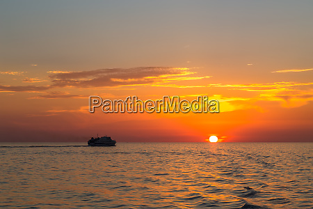 orange sunset in sea from the