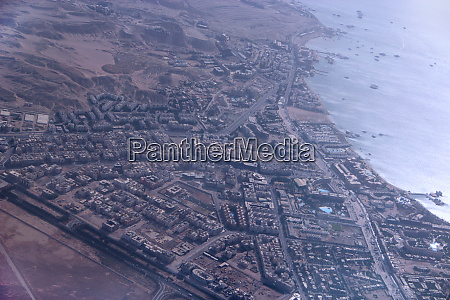 aerial city view with houses buildings